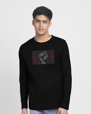 Shop Revolt Repeat Full Sleeve T-Shirt Black-Front