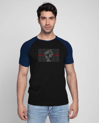 Shop Revolt Repeat Half Sleeve Raglan T-Shirt Navy Blue-Black-Front