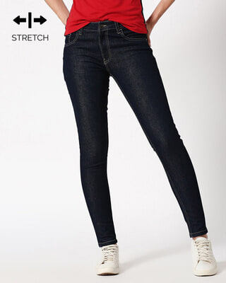 Shop Ribbon Blue Mid Rise Stretchable Women's Jeans-Front