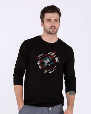 572c4ac1 white_stub Shop Ripped Captain America Full Sleeve T-Shirt (AVL)-Front
