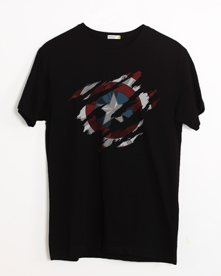 Shop Ripped Captain America Half Sleeve T-Shirt (AVL)-Front