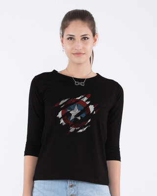 Shop Ripped Captain America Round Neck 3/4th Sleeve T-Shirt (AVL)-Front