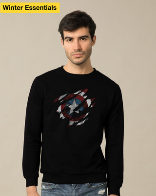 Shop Ripped Captain America Sweatshirt (AVL)-Front