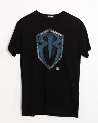 Shop Roman Rigns Shield Half Sleeve T-Shirt (WWEL)-Front