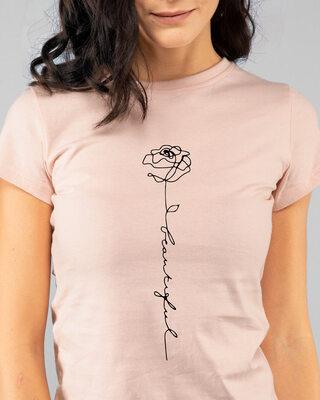 Shop Rose Beautiful Half Sleeve Printed T-Shirt Baby Pink-Front