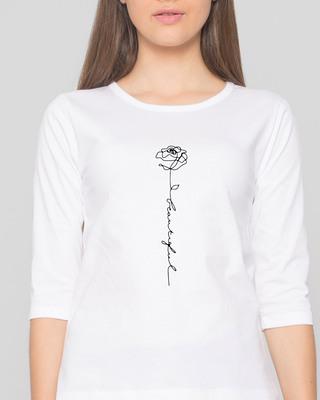 Shop Rose Beautiful Round Neck 3/4 Sleeve T-Shirts White-Front