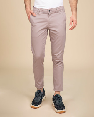 Shop Rouge Pink Slim Fit Cotton Chino Pants-Front