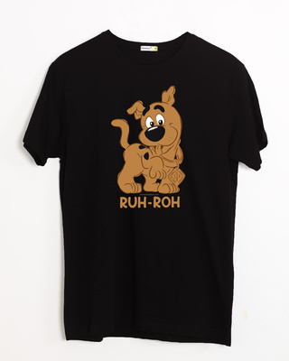 Shop Ruh Roh Scoob Half Sleeve T-Shirt Black (SDL)-Front