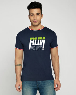 Shop Run Fast Crewneck Varsity Rib H/S T-Shirt-Multicolor-Front