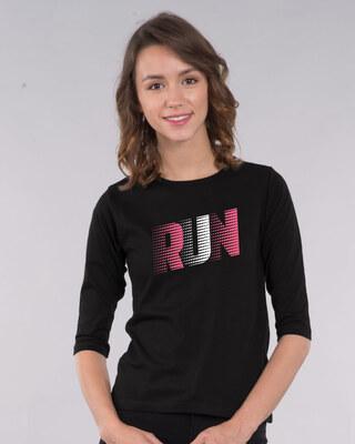 Shop Run Speed Round Neck 3/4th Sleeve T-Shirt-Front
