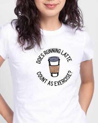 Shop Running Latte Half Sleeve Printed T-Shirt White-Front