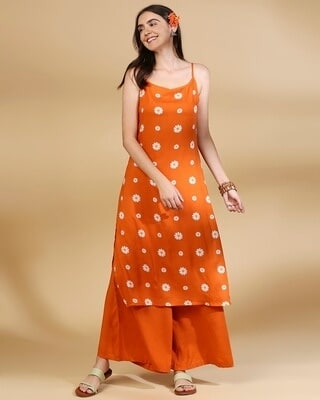 Shop Women's All Over Printed Orange Kurta & Palazzo Ethnic Set-Front