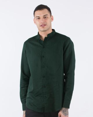 Safari Green Cotton Linen Mandarin Collar Shirt