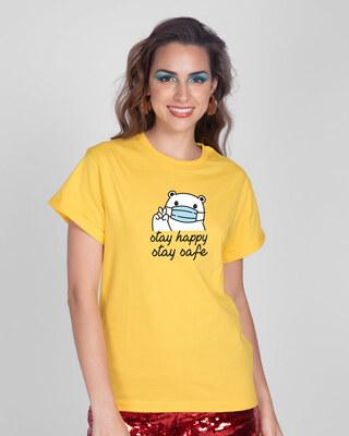 Shop Safe Bear Boyfriend T-Shirt-Front