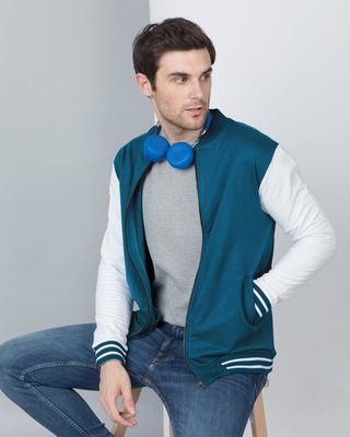 Shop Sailor Blue Varsity Bomber Jacket-Front