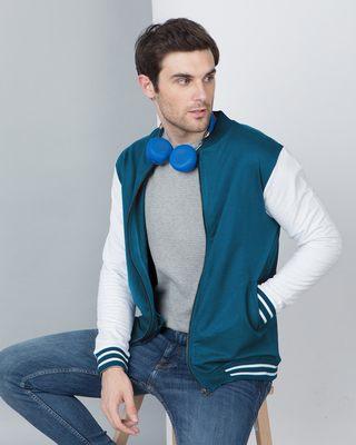 Shop Sailor Blue Varsity Bomber Jacket-Front