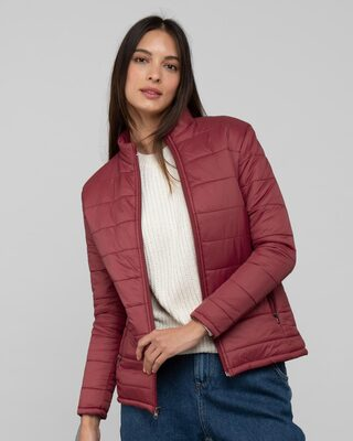 Shop Sangria Red Plain Puffer Jacket-Front