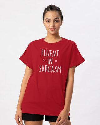 Shop Sarcastic Fluency Boyfriend T-Shirt-Front