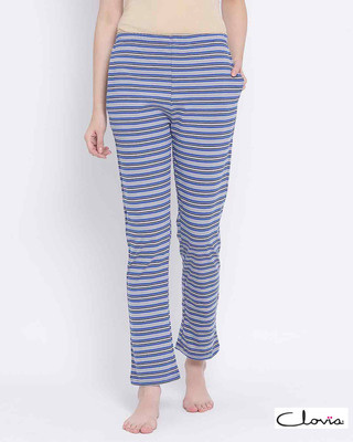 Shop Clovia Sassy Stripes Pyjama in Blue-Front
