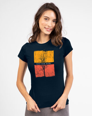Shop Save you home  Half Sleeve Printed T-shirt Navy Blue-Front