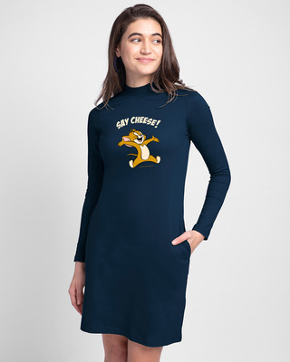 Shop Say Cheese Jerry High Neck Pocket Dress Navy Blue (TJL)-Front