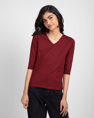 Shop Scarlet Red 3/4 V Neck T-Shirt-Front
