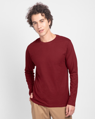 Shop Scarlet Red Plain Full Sleeve T-Shirt-Front