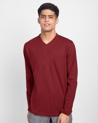 Shop Scarlet Red V-Neck Full Sleeve T-Shirt-Front