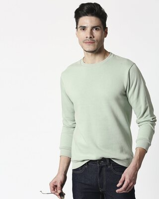 Shop Sea Green Fleece Sweater-Front