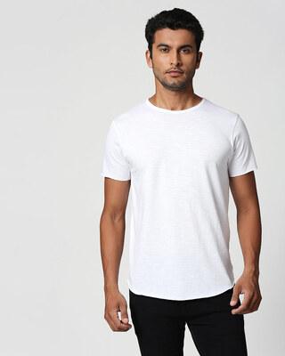 Shop Seashell White Raw Edge Halfsleeve T-Shirt-Front