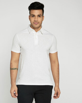 Shop Seashell White Slub Polo-Front