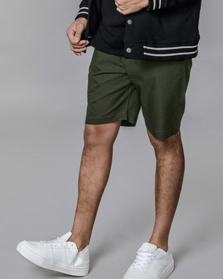 Shop Seaweed Green Lightweight Slim Oxford Shorts-Front