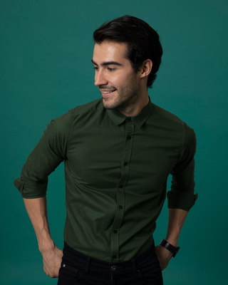 Shop Seaweed Green Slim Fit Oxford Full Sleeve Shirt-Front