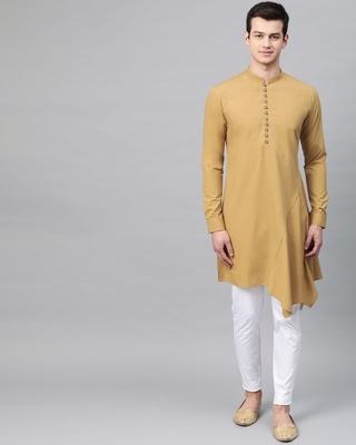 Shop Khaki Solid Asymmetrical Kurta With Pyjama-Front