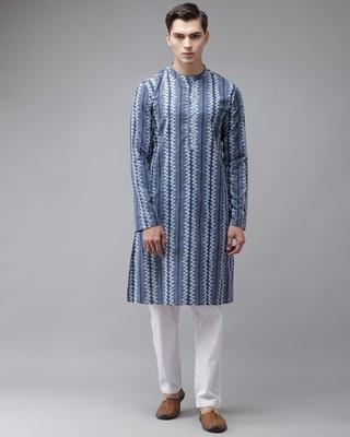 Shop See Designs Men Blue Printed Straight Kurta-Front