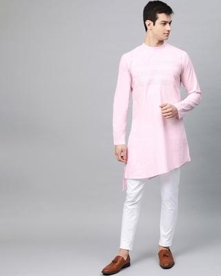Shop Pink Solid Straight Kurta With Yoke Thread Work With Kurta Pyjama-Front