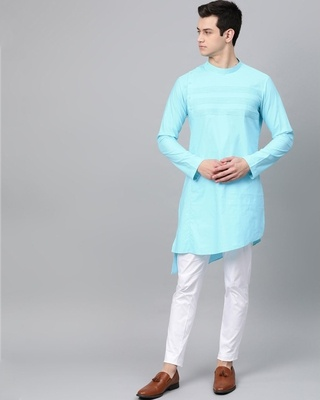 Shop See Designs Turquoise Blue Solid Straight Kurta With Yoke Thread Work-Front