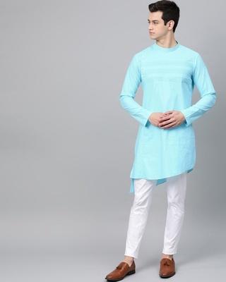 Shop Turquoise Blue Solid Straight Kurta With Yoke Thread Work With Kurta Pyjama-Front