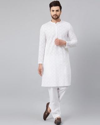 Shop See Designs White Green Chikankari Embroidered Woven Design Straight Kurta-Front