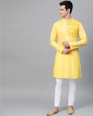 Shop See Designs Yellow Embroidered Straight Kurta-Front