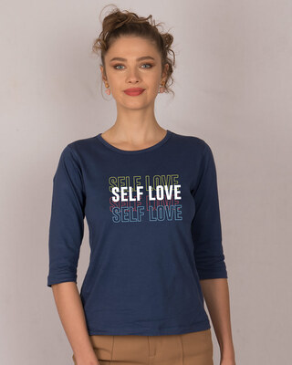 Shop Self Love Repeat Round Neck 3/4th Sleeve T-Shirt-Front