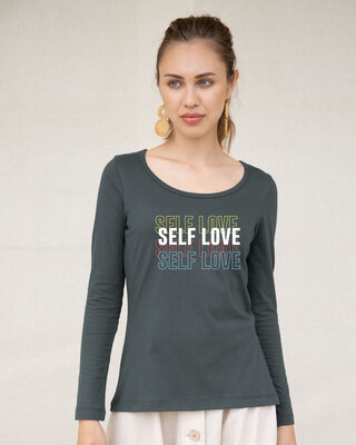 Shop Self Love Repeat Scoop Neck Full Sleeve T-Shirt-Front