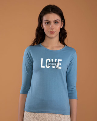 Shop Self Love Round Neck 3/4th Sleeve T-Shirt-Front