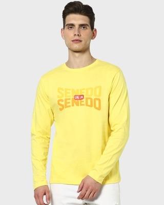 Shop Senedo Full Sleeve T-Shirt Pineapple Yellow-Front