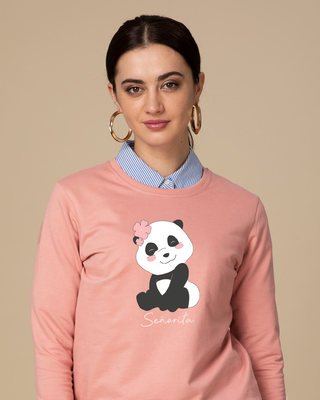 Shop Senorita Panda Fleece Sweater-Front