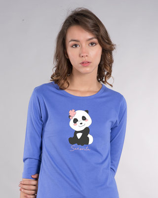 Shop Senorita Panda Round Neck 3/4th Sleeve T-Shirt-Front