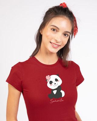 Shop Senorita Panda Half Sleeve T-shirt-Front