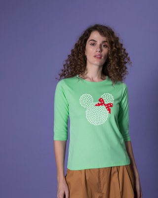 Shop Sequins Mickey Round Neck 3/4th Sleeve T-Shirt (DL)-Front