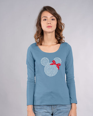 Shop Sequins Mickey Scoop Neck Full Sleeve T-Shirt (DL)-Front