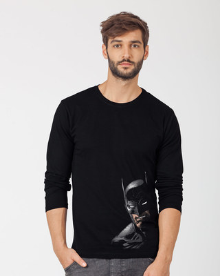 Shop Shadowy Batman Full Sleeve T-Shirt (BML)-Front